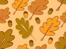 Vector inconsútil con las hojas y las bellotas del roble Fotografía de archivo libre de regalías