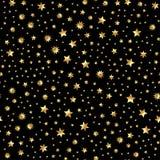 Vector inconsútil con textura abstracta de la estrella del brillo del oro en el contexto negro Fondo de oro de la vendimia Imagen de archivo