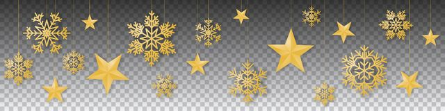 Vector inconsútil de la Navidad del invierno con los copos de nieve y las estrellas coloreados oro colgantes suntuosos en fondo t ilustración del vector