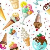 Vector inconsútil del diseño del modelo del helado aislado en blanco Fotografía de archivo libre de regalías
