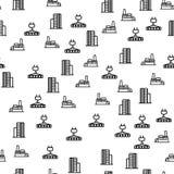 Vector inconsútil del modelo de la construcción industrial stock de ilustración