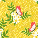 Vector inconsútil del modelo de la flor blanca y de la mariposa hermosas Foto de archivo libre de regalías