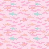Vector inconsútil del modelo de la repetición de la impresión linda del tiburón stock de ilustración
