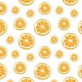 Vector inconsútil del modelo y del fondo anaranjados Ejemplo del vector de la fruta cítrica fotos de archivo libres de regalías