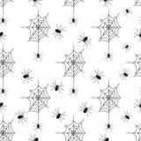 Vector inconsútil del negro de Halloween del web de araña del fondo del modelo de la telaraña Fotos de archivo