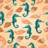 Vector inconsútil del seahorse y de las conchas marinas de la textura Fotografía de archivo libre de regalías