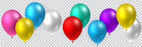Vector inconsútil realista colorido hermoso de los globos coloridos del partido que vuelan ilustración del vector