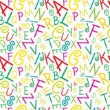 Vector inconsútil colorido en las letras blancas del alfabeto Imágenes de archivo libres de regalías
