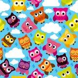 Vector inconsútil y de Tileable Owl Background Pattern Foto de archivo