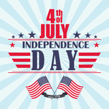 Vector Independence Day background with stars, ribbon and lettering. Template for Independence Day. Stock Images