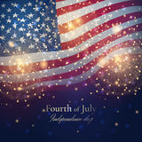 Vector Independence day celebration background with golden fireworks and American flag. Stock Images