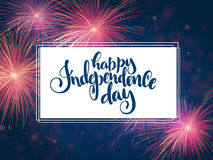 Vector independence day greetings card with hand lettering - happy independence day - with fireworks Stock Photography