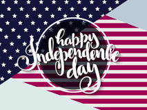 Vector independence day greetings card with hand lettering - happy independence day - with usa flag Royalty Free Stock Photos