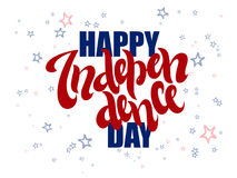 Vector independence day hand lettering greetings label - happy independence day - with doodle stars.  Royalty Free Stock Image