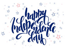 Vector independence day hand lettering greetings label - happy independence day - with doodle stars.  Stock Photo