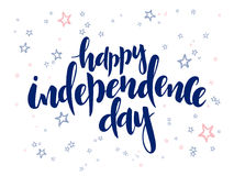 Vector independence day hand lettering greetings label - happy independence day - with doodle stars.  Stock Photography