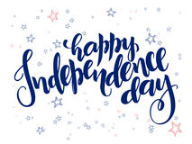 Vector independence day hand lettering greetings label - happy independence day - with doodle stars.  Stock Images