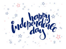 Vector independence day hand lettering greetings label - happy independence day - with doodle stars.  Royalty Free Stock Photography