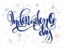 Vector independence day hand lettering greetings label - happy independence day - with doodle stars.  Royalty Free Stock Photos