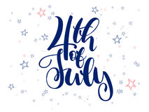 Vector independence day hand lettering greetings label - 4th of july - with doodle stars.  Royalty Free Stock Photos