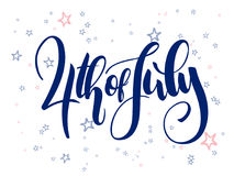 Vector independence day hand lettering greetings label - 4th of july - with doodle stars.  Royalty Free Stock Image