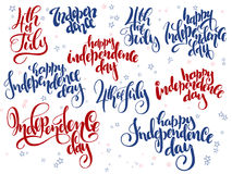 Vector independence day hand lettering set of greetings labels with doodle stars.  Stock Images