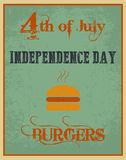 Vector independence day poster. Independence day poster with a burger for a barbeque party vector illustration