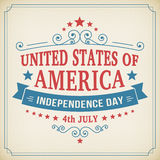 Vector independence day 4th July america poster. Vintage independence day 4th July american poster on paper background. Vector illustration Stock Images