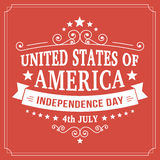 Vector independence day 4th July america poster. Vintage independence day 4th July american poster on paper background. Vector illustration Royalty Free Stock Image