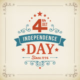 Vector independence day 4th July america poster. Vintage independence day 4th July american poster on paper background. Vector illustration Stock Photography