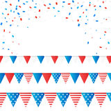 Vector independence 4 July element flags and confetti Stock Photos