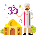 Vector India Country. Flat style colorful Cartoon illustration. Royalty Free Stock Photos