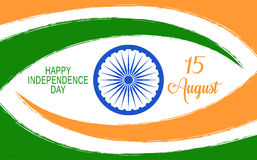 Vector India Independence Day background with Ashoka wheel and lettering. Stock Image