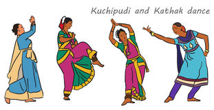 Vector indian dancers Royalty Free Stock Photos