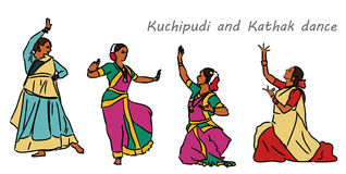 Vector indian dancers Stock Photo