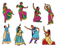 Vector indian dancers Stock Photography