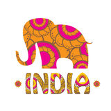 Vector indian elephant with color pattern. Stock Image