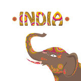 Vector indian elephant with color pattern. Royalty Free Stock Photos