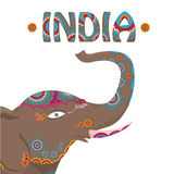 Vector indian elephant with color pattern. Stock Photos