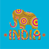 Vector indian elephant with color pattern. Stock Photography