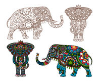 Vector Indian elephant. Vector decorated Indian Elephant silhouette and colored Royalty Free Stock Photography