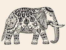 Vector Indian elephant. Indian elephant. Hand drawn doodle indian elephant with tribal ornament. Vector ethnic elephant. Black, beige color Stock Photography