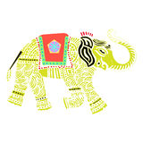 Vector Indian Elephant. Vector illustration of an Indian decorated Elephant, isolated on white background Stock Photography