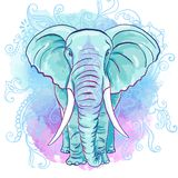 Vector Indian Elephant on the Watercolor Blot Stock Photography
