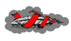 Vector Indian feather eagle. Vector Indian feather with a red ribbon and cords and beads royalty free illustration