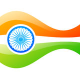 Vector indian flag design. Stylish vector indian flag in wave style Stock Photos