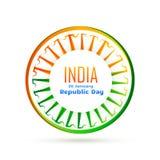 Vector indian flag wheel with tri color Stock Photos
