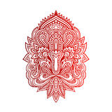 Vector Indian hand drawn hamsa with ethnic ornaments. Beautiful India ethnica ornament. Folk Henna tattoo style Stock Photography