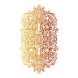 Vector Indian hand drawn hamsa with ethnic ornaments. Beautiful India ethnica ornament. Folk Henna tattoo style Stock Photo