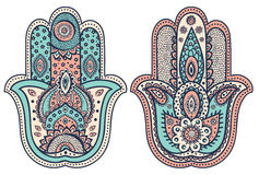 Vector Indian hand drawn hamsa with ornaments Stock Photo